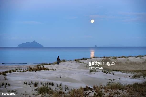 Moon rise over Sail Rock and Bream Bay seen from the Ruakaka Wildlife Refuge on the North Island, New Zealand