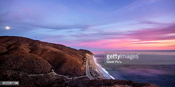 moon rising over santa monica mountain, malibu, california, usa - malibu stock pictures, royalty-free photos & images