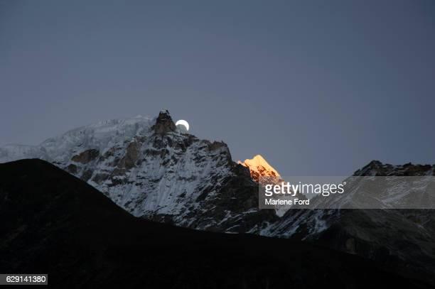 Moon rising over Taboche Peak, Himalayas, Nepal