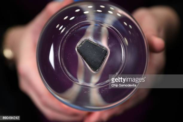A moon rock collected by Apollo 17 astronaut and former US Senator Jack Schmitt exactly 45 years earlier was displayed during the ceremony where US...