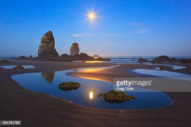 Moon set over Neadles, Canon Beach, Oregon Coast, Pacific Northwest