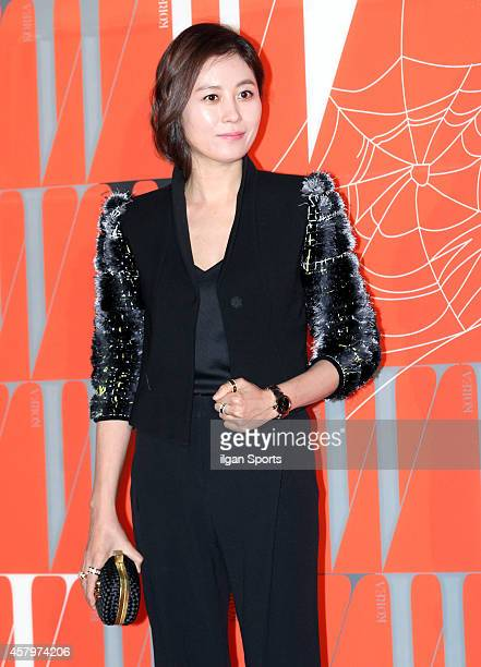 Moon SoRi poses for photographs during the W Korea campaign Love Your W party at Fradia on October 23 2014 in Seoul South Korea