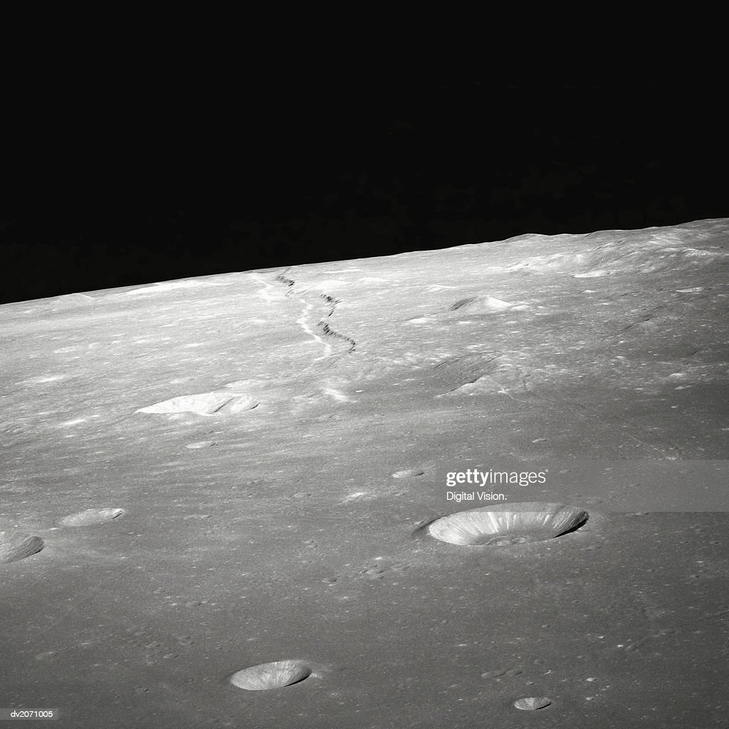 Moon Surface and Horizon : Stock Photo
