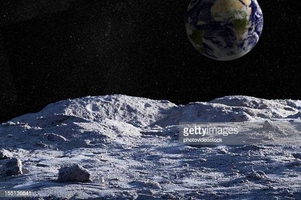 moon surface with distant earth and starfield - moon stock pictures, royalty-free photos & images