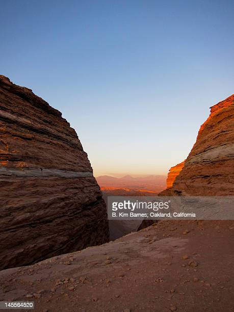 moon valley at sunset - antofagasta region stock photos and pictures