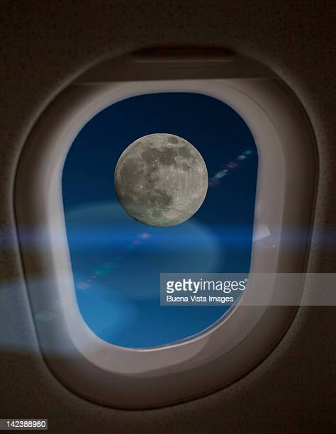Moon, view fro airplane window