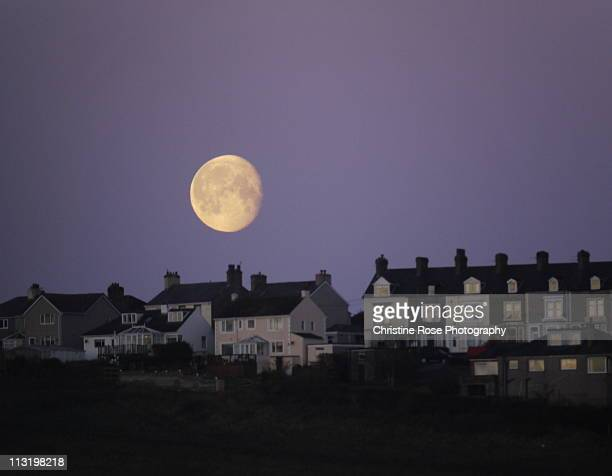 moon with houses - whitehaven cumbria stock pictures, royalty-free photos & images
