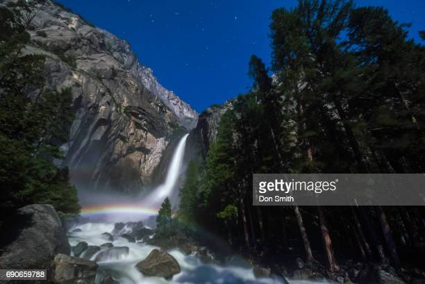 moonbow over lower yosemite fall horizontal - moonbow ストックフォトと画像
