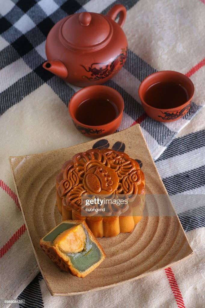 Mooncake and teafood and drink for Chinese mid autumn festival. Traditional mooncakes on & Mooncake And Teafood And Drink For Chinese Mid Autumn Festival ...