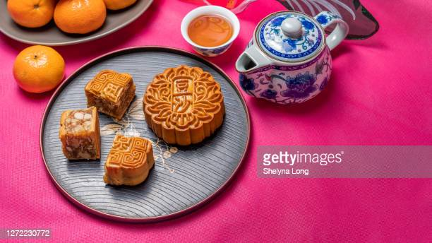 mooncake beauty shot with decoration - moon cake stock pictures, royalty-free photos & images