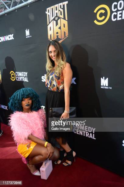 Moonchild Sanelly and Candice Fangueiro during the Comedy Central Roast of AKA held at Montecasino's Teatro Fourways on February 21 2019 in...