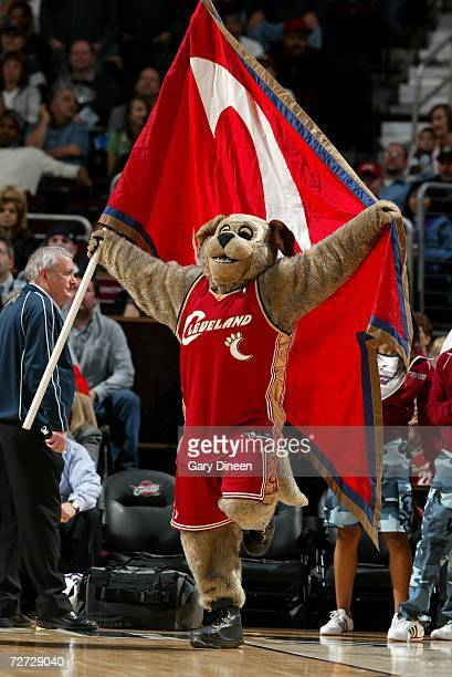 Moondog holds a giant Cleveland Cavaliers flag during the game against the Minnesota Timberwolves on November 17, 2006 at the Quicken Loans Arena in...