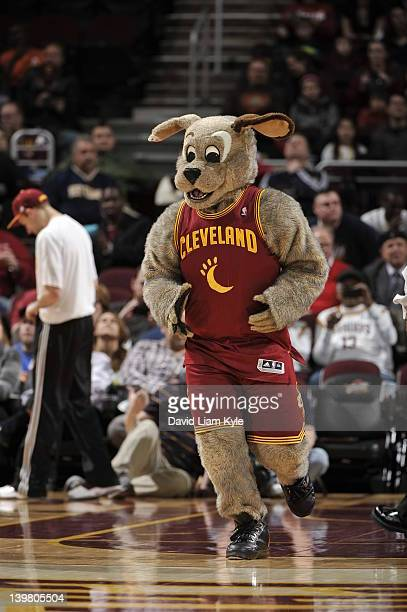 Moondog mascot of the Cleveland Cavaliers entertains the crowd during the game against the Indiana Pacers at The Quicken Loans Arena on February 15...