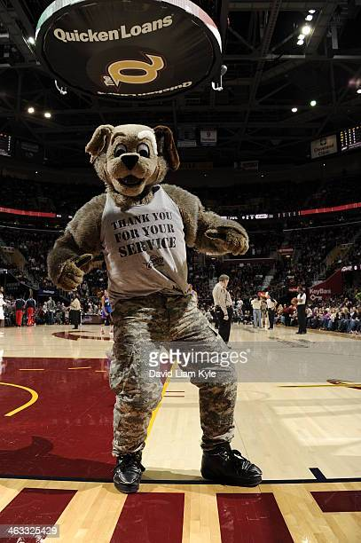 Moondog mascot of the Cleveland Cavaliers gets the crowd pumped up against the Philadelphia 76ers at The Quicken Loans Arena on November 9, 2013 in...