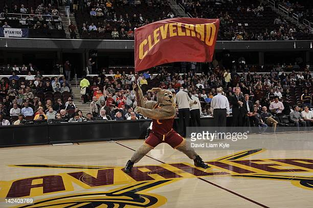 Moondog Mascot of the Cleveland Cavaliers performs during a break in the action against of the San Antonio Spurs at The Quicken Loans Arena on April...