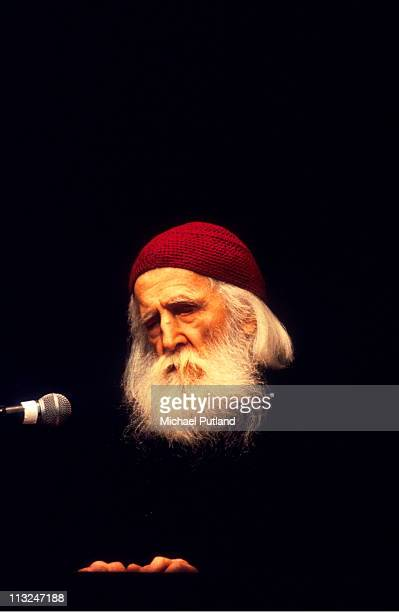 Moondog performs at the Poetry Olympics, London, 7th July 1996.