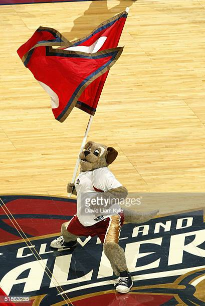 Moondog the Cleveland Cavaliers mascot waves a flag during the game against the Chicago Bulls on November 27 2004 at Gund Arena in Cleveland Ohio The...