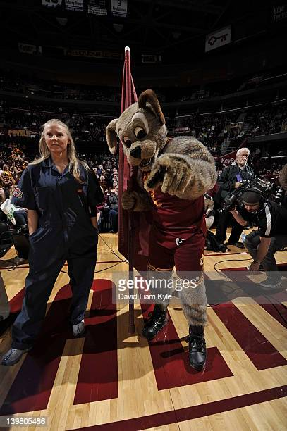 Moondog the mascot of the Cleveland Cavaliers entertains the crowd prior to the game against the Indiana Pacers at The Quicken Loans Arena on...