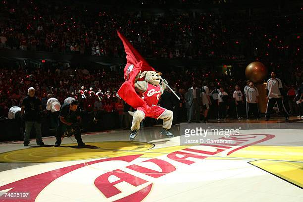 Moondog the mascot of the Cleveland Cavaliers fires up the fans against the San Antonio Spurs in Game Four of the NBA Finals at the Quicken Loans...