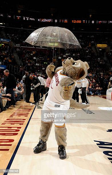 Moondog the mascot of the Cleveland Cavaliers plays during the game against the Miami Heat at The Quicken Loans Arena on March 20 2013 in Cleveland...