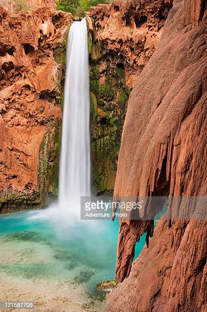 mooney falls havasu canyon - mooney falls stock photos and pictures