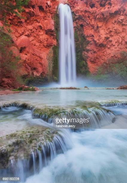 mooney falls, havasupai, grand canyon, arizona - supai stock photos and pictures
