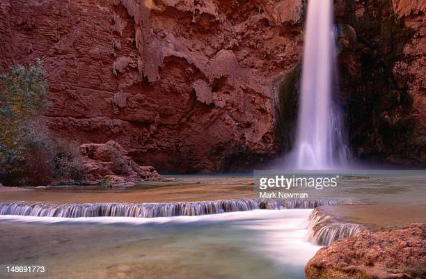 mooney falls - havasupai indian reservation. - mooney falls stock photos and pictures