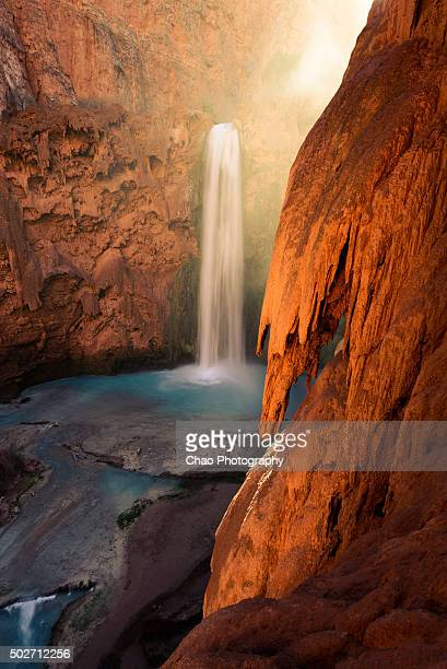 mooney falls, havasupai - mooney falls stock photos and pictures