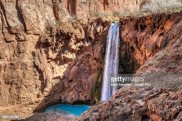 mooney falls, havasupai reservation - mooney falls stock photos and pictures