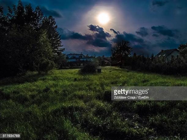 moonlight above houses - moonlight stock pictures, royalty-free photos & images