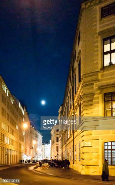moonlight and the street view at vienna, austria - vsojoy stock pictures, royalty-free photos & images