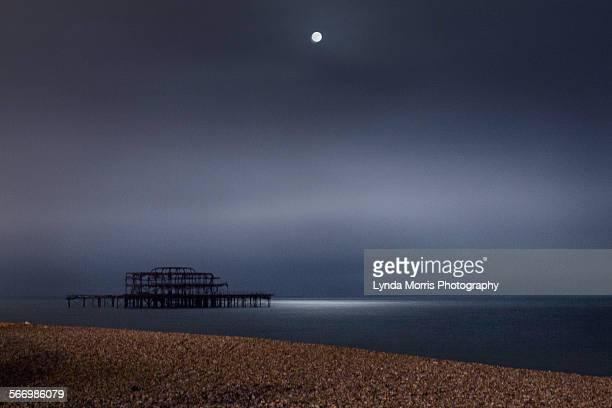 Moonlight at Brighton over the Pier