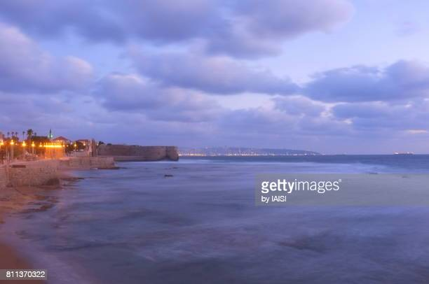 Moonlight Blues, long exposure at the walled port-city and the bay of Acre