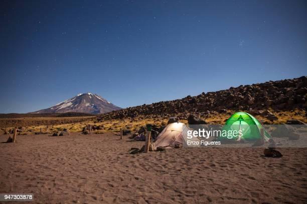 Moonlight camp at the at Laguna del Diamante