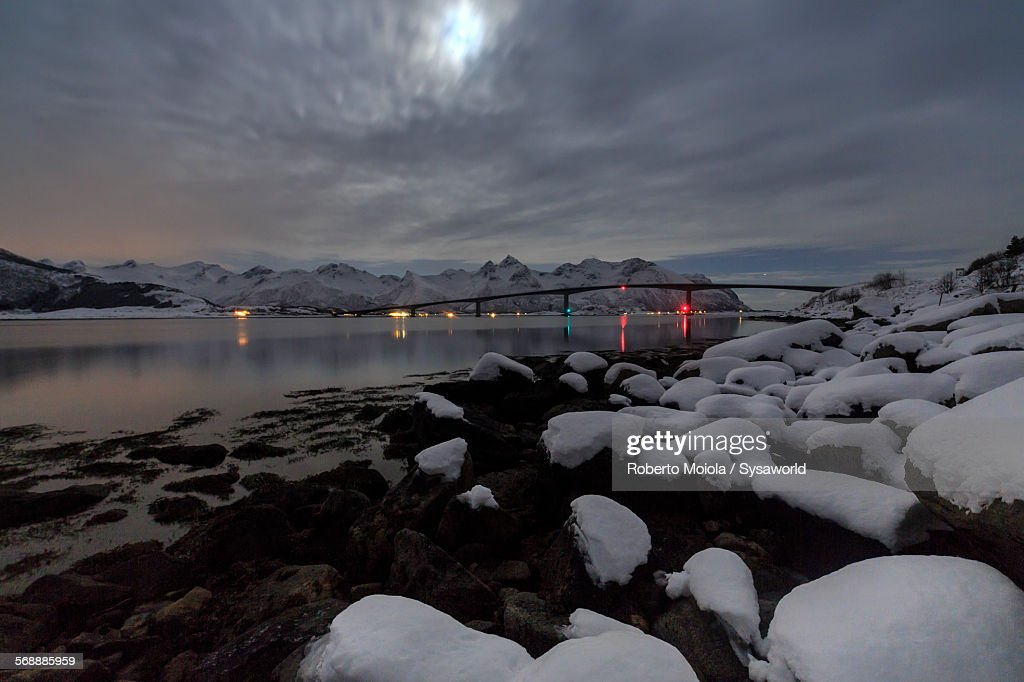 Moonlight in Gymsøyand Norway : Stock Photo