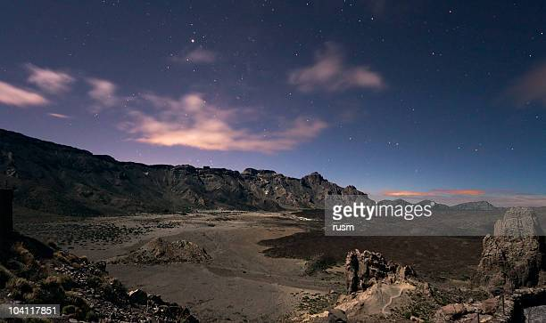 moonlight landscape on teide, canary islands - pico de teide stock pictures, royalty-free photos & images