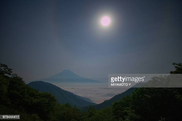 Moonlight landscape with view on Mt. Fuji, Yamanashi, Japan