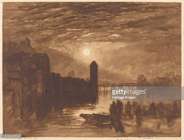 Moonlight on a River, 1896. Artist Frank Short.