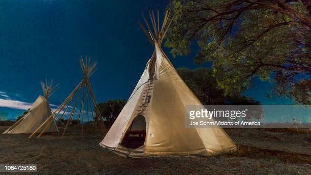 Moonlight on Indian Tepee at Ute Indian Museum Montrose Colorado