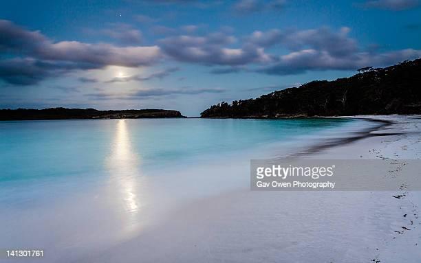 Moonlight on white sandy beach