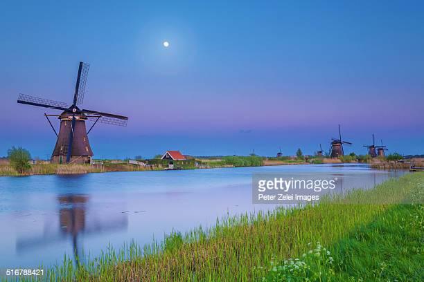 Moonlight over Kinderdijk