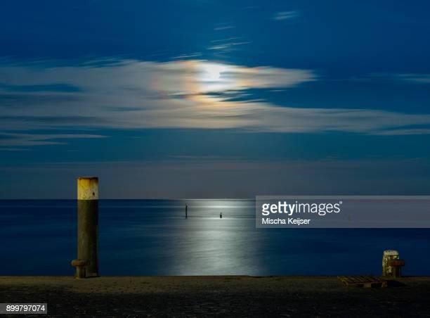 Moonlight over the Wadden sea, Workum, Friesland, Netherlands, Europe