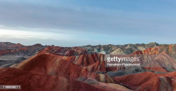 moonlight scene of amazing landscape at geological park rainbow mountain, danxia landform, gansu province, zhangye, china - 丹霞地形 ストックフォトと画像