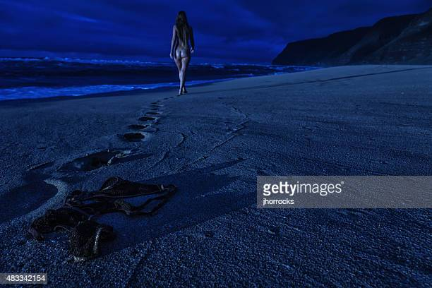 moonlight skinny dipping - women skinny dipping stock pictures, royalty-free photos & images
