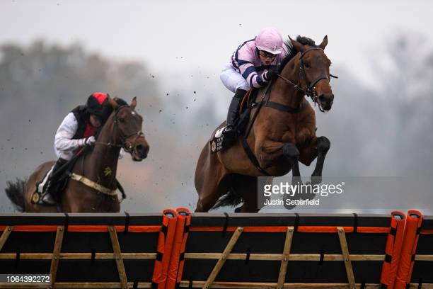 Moonlighter ridden by Lizzie Kelly jumps the last on the way to winning Royal Ascot Racing Club 'National Hunt' Maiden Hurdle at Ascot Racecourse on...