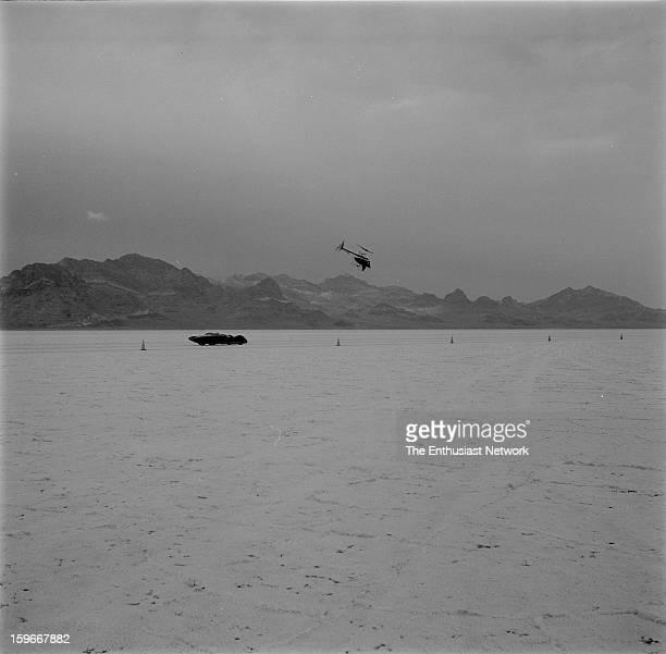 Moonliner - Bonneville - Gary Gabelich prepares for a race down the Bonneville Salt Flats in the Moon Equipment - Dean Moon Moonliner. Powered by a...