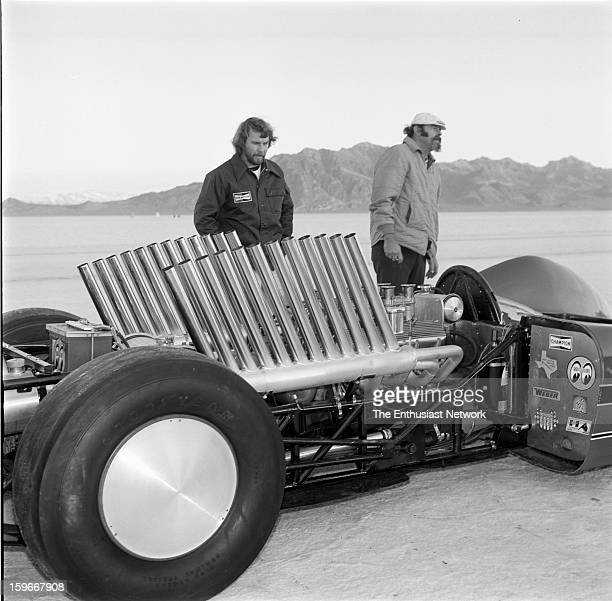 Moonliner Bonneville Gary Gabelich prepares for a race down the Bonneville Salt Flats in the Moon Equipment Dean Moon Moonliner Powered by a...