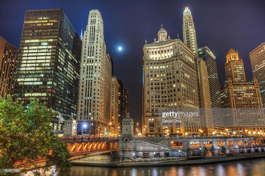 Moonlit Chicago : Stock Photo