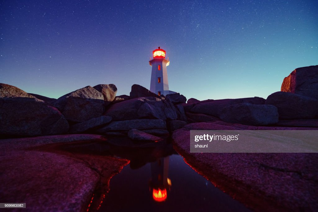 Im Mondlicht Lighthouse : Stock-Foto