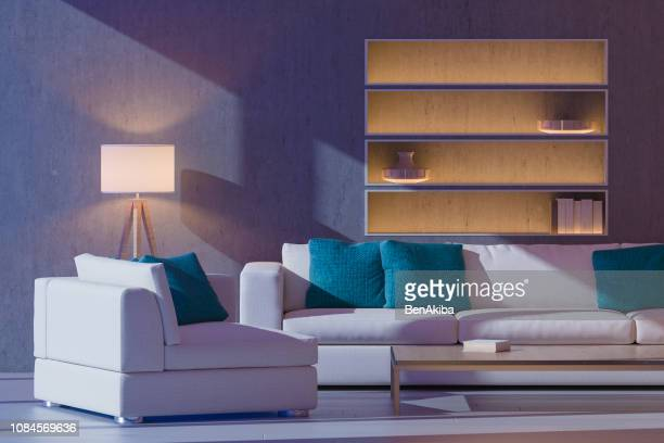 moonlit modern living room - moonlight stock pictures, royalty-free photos & images